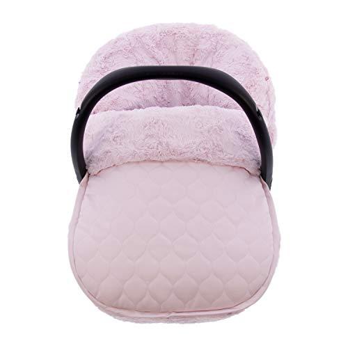 Funda + Saco Universal para Silla de coche GRUPO 0 Rosy Fuentes - Saco para Silla de Bebé Grupo 0 - Equipado para ser Ajustado perfectamente - Elaborado en Ecopiel y pelo rosetas - Color rosa