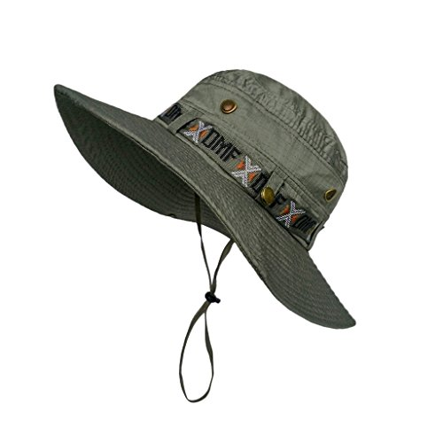 LETHMIK つば広 折りたたみ UVカット帽子 夏用帽子 ブーニーハット サファリ アウトドア ハイキング キャンプ 登山 釣り フィッシング ハット 利休色 周り56-61cm [8331]