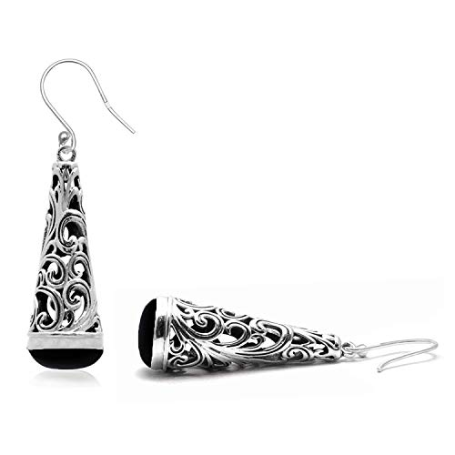 Silver Palace Multi Color Natural Gemstone 925 Sterling Silver Filigree Long Leaf Drop Dangle Earrings For Women & Girls