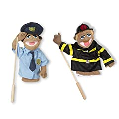 "Use one hand to manipulate the puppet's mouth and facial expressions, and the other to gesture with the wooden arm rod. Whimsically designed police officer and firefighter puppets inspire ""animated"" play Detachable rod is suitable for lefties or righ..."