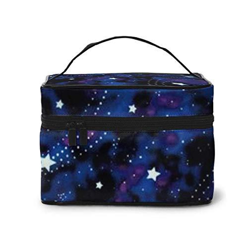 Galaxy Stars Magic Glow in The Dark Travel Train Case Cosmetic Case Organizer Portable Storage Bag