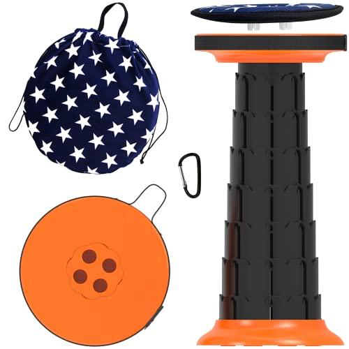 ALEVMOOM Taburete plegable retráctil ligero para camping, taburete de viaje, taburete telescópico con cojín giratorio para escalar, piscina, barbacoa, carga máxima 400 libras, naranja