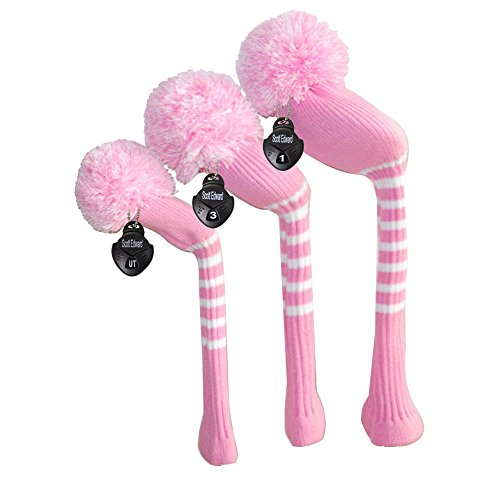 Scott Edward Stripes Style Knitted Golf Club Head Covers Set of 3, fit for Driver Wood(460cc), Fairway Wood, Hybrid(UT), for Men/Women Golfers, Individualized Looking and Washable (Pink)