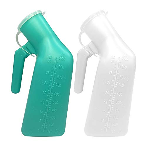 Urinals for Men Thick Firm Portable Urinal, Urine Collection for Hospital, Incontinence, Elderly, Travel Bottle and Emergency (White+Green)2 Packs-1000ml