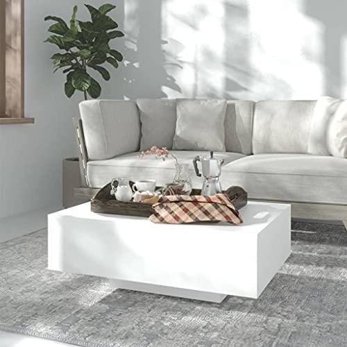 vidaXL Mesa de Centro Auxiliar Consola Mesita Salón Lateral Té Café Sofá Sala de Estar Muebles Mobiliario de Aglomerado Blanco 85x55x31 cm