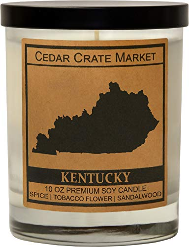 Kentucky Kraft Label Scented Soy Candle, Spice, Tobacco Flower, Sandalwood, 10 Oz. Glass Jar Candle, Made in The USA, Decorative Candles, Going Away Gifts for Friends, State Candles