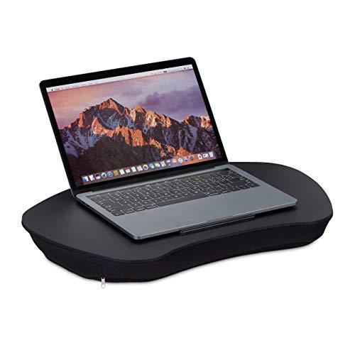 Relaxdays Laptopkissen, Holz-Auflage, weiche Polsterung, Tragegriff, Kissentablett für Bett BxT: 52 x 33 cm, schwarz, 1 Stück
