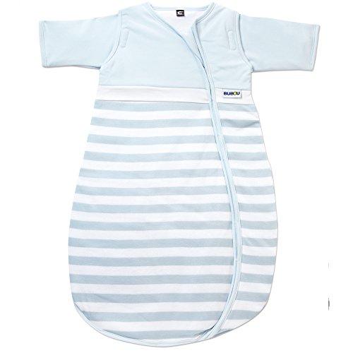 Gesslein Bubou Sensitiv Temperaturregulierender Ganzjahreschlafsack/Schlafsack für Babys/Kinder, Größe 90, hellblau gestreift