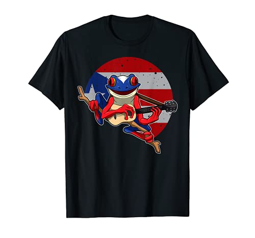 Coqui Frog tocando guitarra - Puerto Rico Animal Camiseta