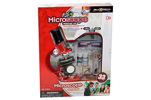 Micro-Science 21334 100/300/600X Box en Microscoop set, rood, 33 stuks