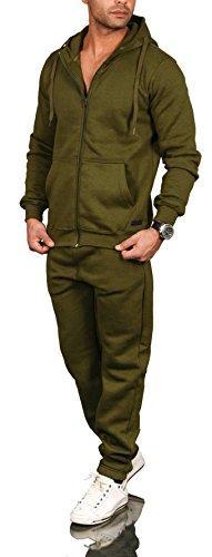 A. Salvarini Herren Jogging Anzug Trainingsanzug Sportanzug Sweatshirt AS071 [AS-071-Olive-Gr.XXL]