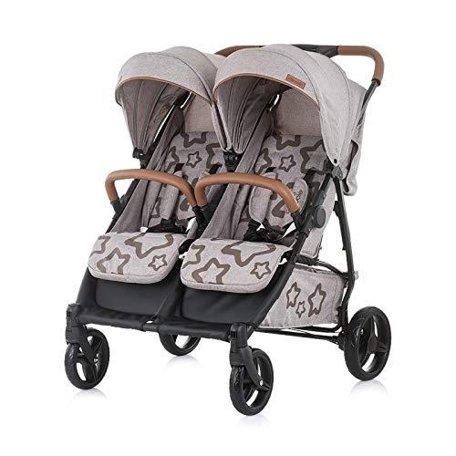 Chipolino Geschwisterkinderwagen Passo Doble klappbar, 73 cm breit, Fußsack beige