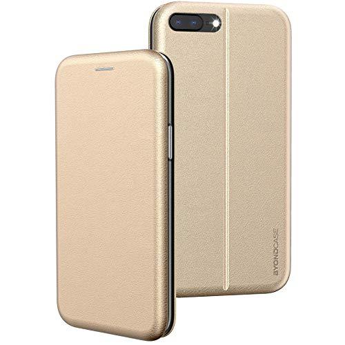 BYONDCASE iPhone 8 Plus Hülle Gold, iPhone 7 Plus Hülle [Deluxe Leder Flip-Hülle Klapphülle] Handyhülle iPhone 8/7 Plus Fullbody 360 Grad R&umschutz kompatibel mit dem iPhone 8/7 Plus Hülle