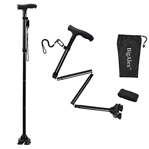 BigAlex Folding Walking Cane with LED Light,Adjustable & Portable Walking Stick, Lightweight,Collapsible with Carrying Bag for Men/Woman(Large)