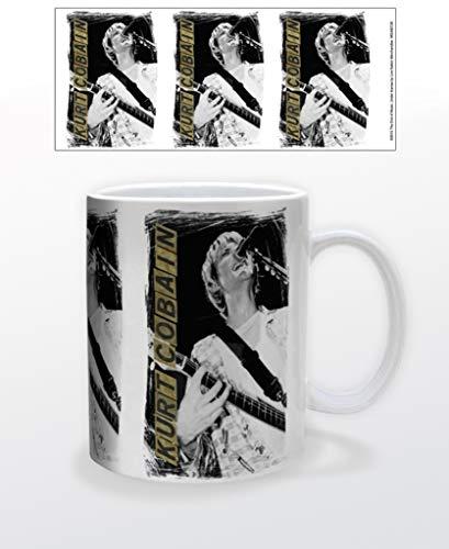 Kurt Cobain Nirvana Singing Retro 90s Music Taza de café de cerámica taza de té divertida regalo novedad 12 oz