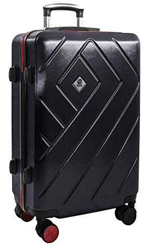 Prime-Day Lightweight Hardside Luggage 68 cm - Medium 24in Lightweight Hard Shell TSA Approved Lock and 4 Silent 360° Wheels - Travel Hold Checked Check in Suitcase 3.5kg Deep Black 24 inch