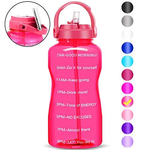 BuildLife Motivational - Botella de agua de 2 L, sin BPA, con pajita y soporte para teléfono, recordatorio para beber más diariamente, a prueba de fugas, reutilizable, gran capacidad (rosa, 2 litros)
