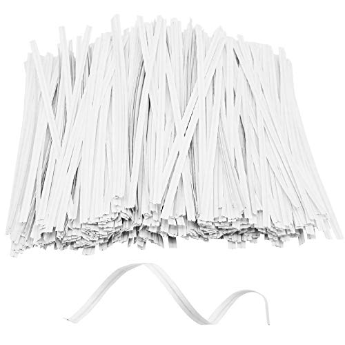 Jyongmer 1000Pcs 6 Inch Plastic Twist Ties, Cable Twist Ties Reusable Bread Ties for Making Party Cello Candy Cake Pops Coffee Gift Bags (White)