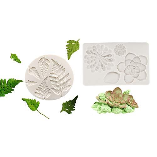 junengSO Kuchenform, 2Pcs 3D Leaves Silikonform Fondantform für Chocolate Polymer Clay Cupcakes