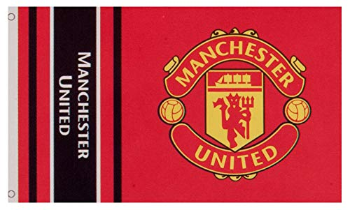 Manchester United Football Club Official Striped Large Flag Big Crest Game Fan Banner