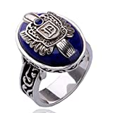 XCFS Antique Silver Plated Engraved Vampire Diaries Merchandise Band Ring Damon Salvatore Blue Stone Pattern Souvenir Daylight Mens Rings,Size6-12 (6)
