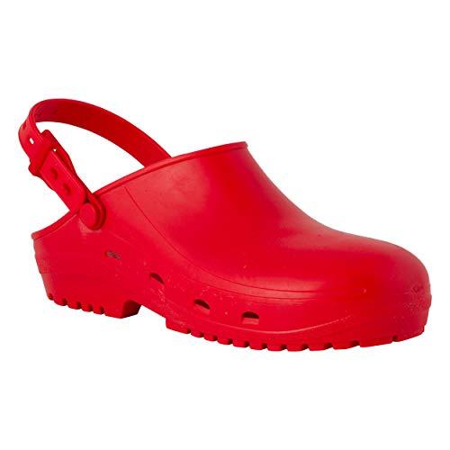 REPOSA MAX Zuecos Sanitarios, Zapatos Sanitarios Tipo Zueco, polímero Natural antiestático, sin látex, capellada Superior Cerrada, Agujeros Laterales, Plantilla anatómica, Suela SRC