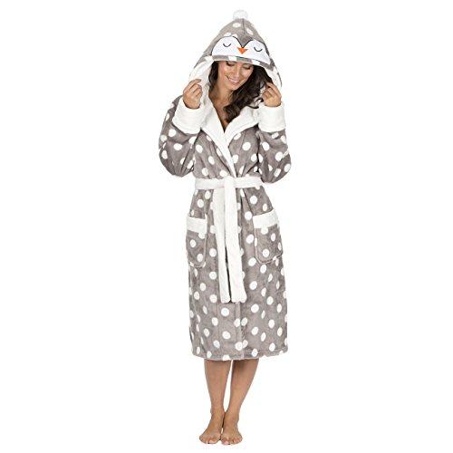Womens Christmas Novelty Flannel Fleece Hooded Dressing Robes Grey Medium