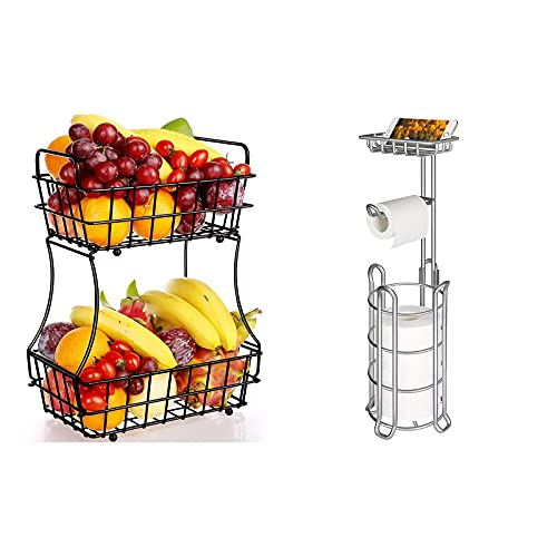 TomCare 2-Tier Fruit Basket and Toilet Paper Holder
