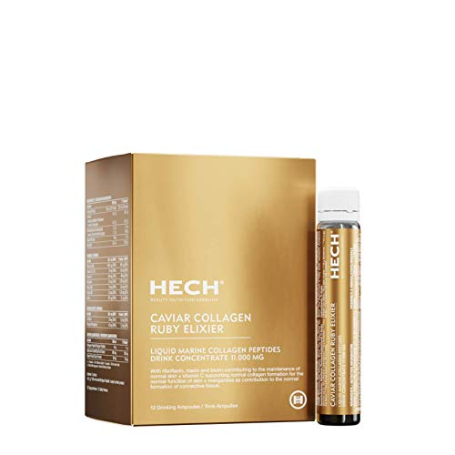 HECH Caviar Collagen Ruby Elixier - Beauty Nutrition Supplement with 11.000 mg Marine Collagen Peptides, Polyphenols, Complex of 9 bioactive vita-Mineral nutrients, Drink Supplement