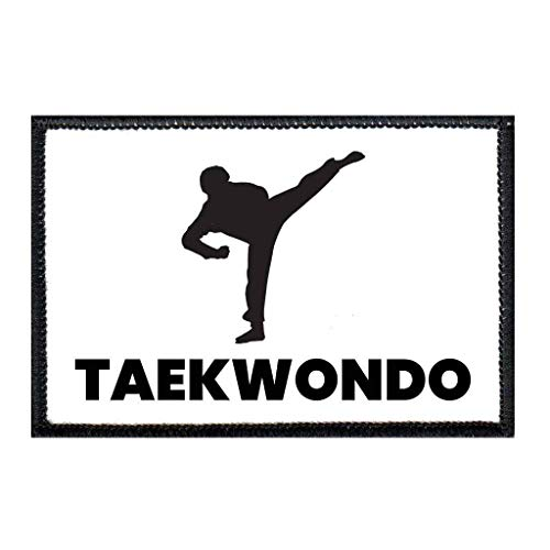 Taekwondo Kick Morale Patch | Hook and Loop Attach for Hats, Jeans, Vest, Coat | 2x3 in | by Pull Patch