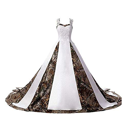 ANGELA Women's Straps Camouflage Wedding Dresses Appliques Long Camo Bridal Gowns White 18 Plus