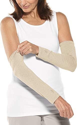 Coolibar UPF 50+ Women's Navagio Sun Sleeves - Sun Protective (Small/Medium- Light Oatmeal Heather)