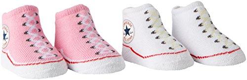 Converse Baby - Mädchen Socken 2 Pack Booties, Gr. 0-6 Monate , Rosa (Chuck Pink)