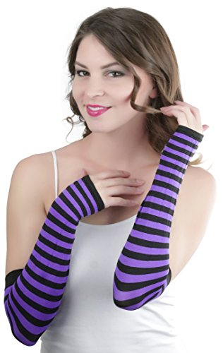ToBeInStyle Women's Striped 100% Nylon Arm Length Warmers - Black With Purple Stripes One Size