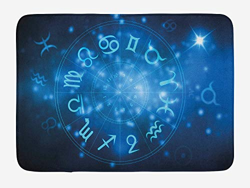 Casepillows Astrology Badmat, Abstract Horoscoop Wiel met Tekenen Waterman Leeuw Stier Weegschaal, Pluche Badkamer Decor Mat met Niet Slip Backing, 23,6 x 15,7 Inch, Marineblauw Wit en Hemel Blauw