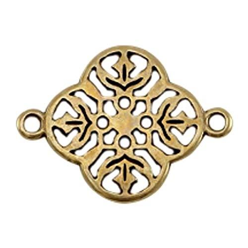 Sadingo DQ Metall Schmuckverbinder Bronze, Zwischenstück, Anhänger Boho Style - 1 Stück - Armband basteln - DIY Schmuck