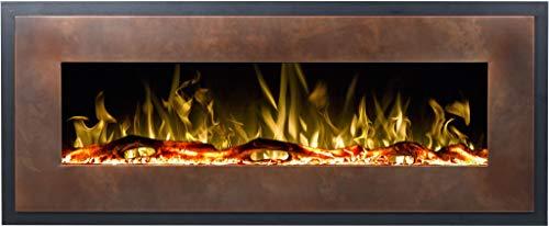 Chimenea eléctrica Mohave de bronce, chimenea de pared eléctrica (750 W o 1500 W), simulación de fuego LED, profundidad de solo 13 cm