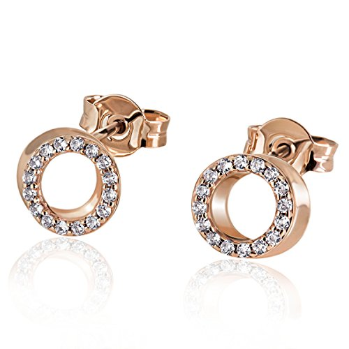 Goldmaid Damen-Ohrstecker Kreise 585 Rotgold 32 Diamanten 0,22 ct. Ohrringe Schmuck