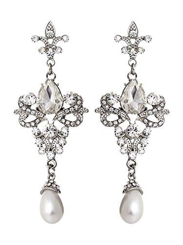 Vintage lámpara de araña (Pearl Drop Pendientes de novia Dangling CZ Pendientes de cristal gota de largo..