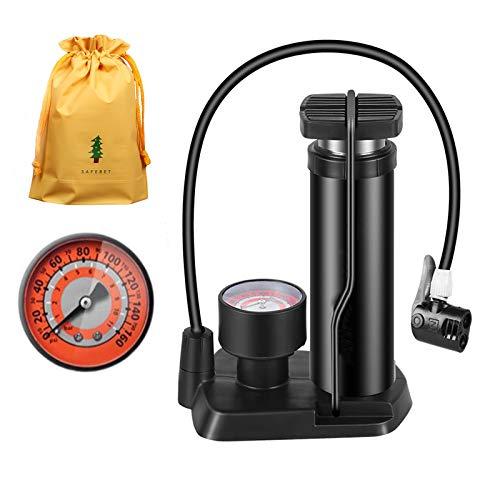 JJvKa Fahrradpumpe Fußpumpen mit präzision Manometer 11bar/160PSI für alle Ventile SV AV DV, Mini tragbar Luftpumpe Standpumpe mit Adapter für Auto, Bällen, Spielzeug, Matratzen, Schwimmreifen
