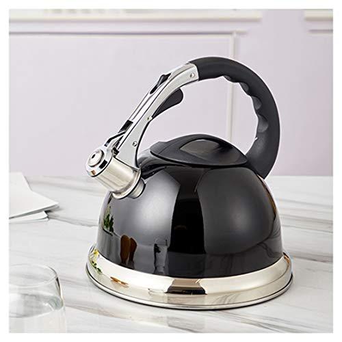 Kessel Stovetop Whistling Kettle 3,5 Liter Fassungsvermögen Edelstahl, High-End-Schwarze kochendem Wasser Topf for Gaskocher, Dreischicht-Verbund Boden for eine effiziente Wärmesammel