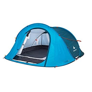 Quechua Waterproof Pop Up Camping Tent 2 Seconds Easy 3 Man (Blue)
