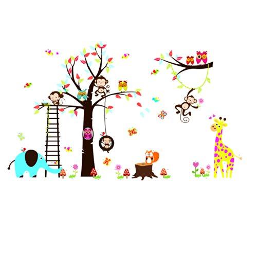 Arcobaleno Fox gufo e la scimmia scoiattolo giraffa giocano su colorato albero Adesivo Wall Sticker