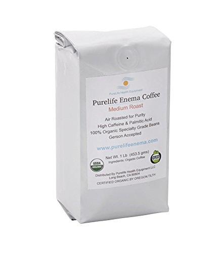 Purelife Mold-Free Coffee for Enemas- WHOLE BEAN - Medium Air Roast -100% Organic / Gerson Recommended - Ships Direct and Fresh From Purelife Enema