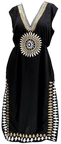 LA LEELA Vestido Vestido de Verano Ropa de Playa Tumbona de Noche de Las Mujeres Ocasionales Superiores encubrimientos Halloween Negro_V490