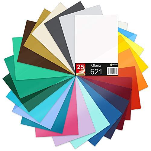 25 x Din A4 Bögen Plotterfolie 621/631 Selbstklebende Folie im Set Vinyl zum Plotten DIY Bastelfolie Sticker Beschriftung Aufkleber 29,7x21cm (Bunt matt, 25er Set)