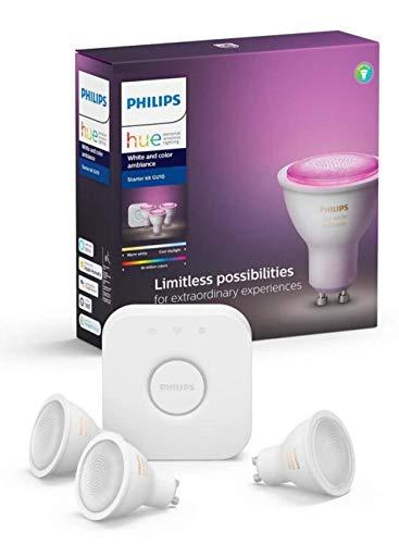 PHILIPS Hue White & Color Ambiance Starter Set 3xGU10 LED BT + Bridge + regulador