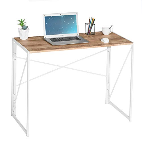 "Coavas Folding Desk No Assembly Required, 40"" Writing Computer Desk Space Saving Foldable Table Simple Home Office Desk"