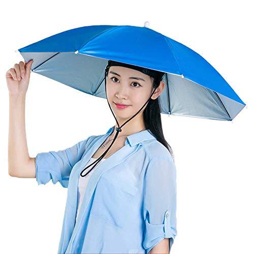 ORETG45 Regenschirm-Hut, Kappe, Angelkappe, Strandschirm, Regenbogen-Hut, faltbares Kopfband, Kopfbedeckung für Sommer, Outdoor, nicht null, blau, 80 cm