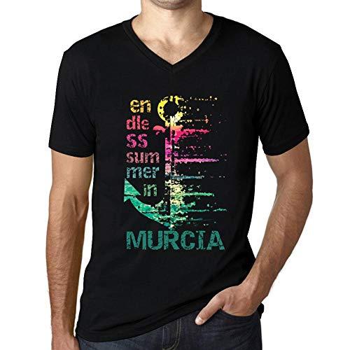 Hombre Camiseta Vintage Cuello V T-Shirt Gráfico Endless Summer In Murcia Negro Profundo